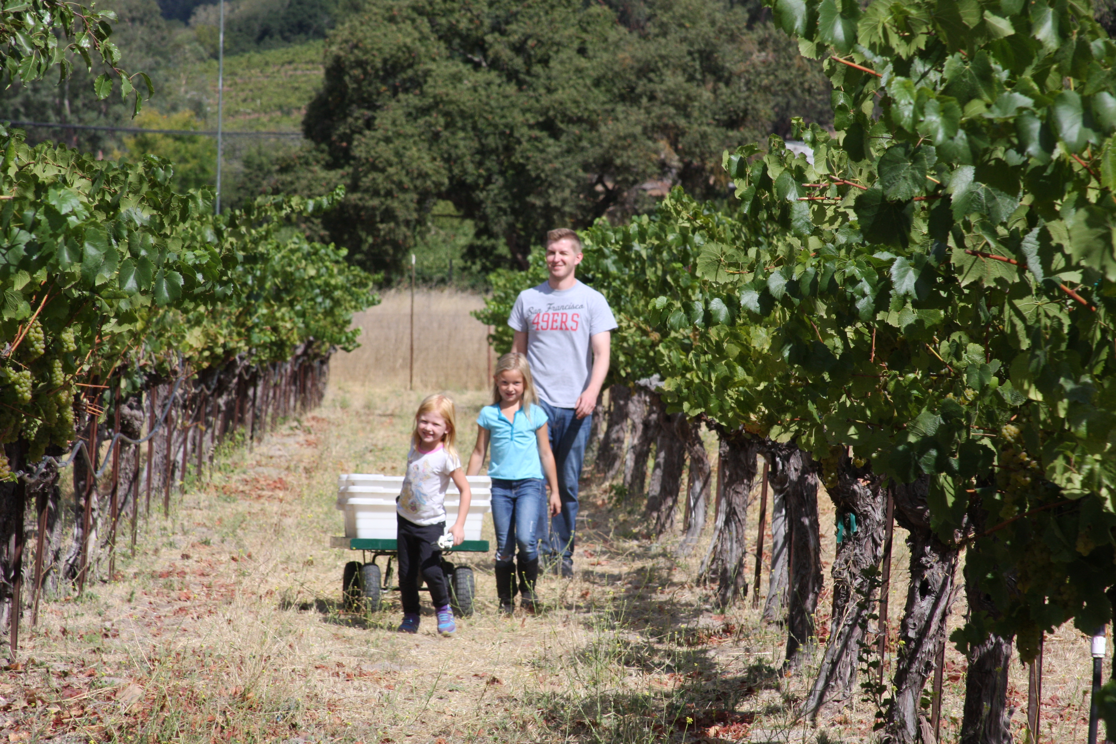 Nick and Girls in Vineyard