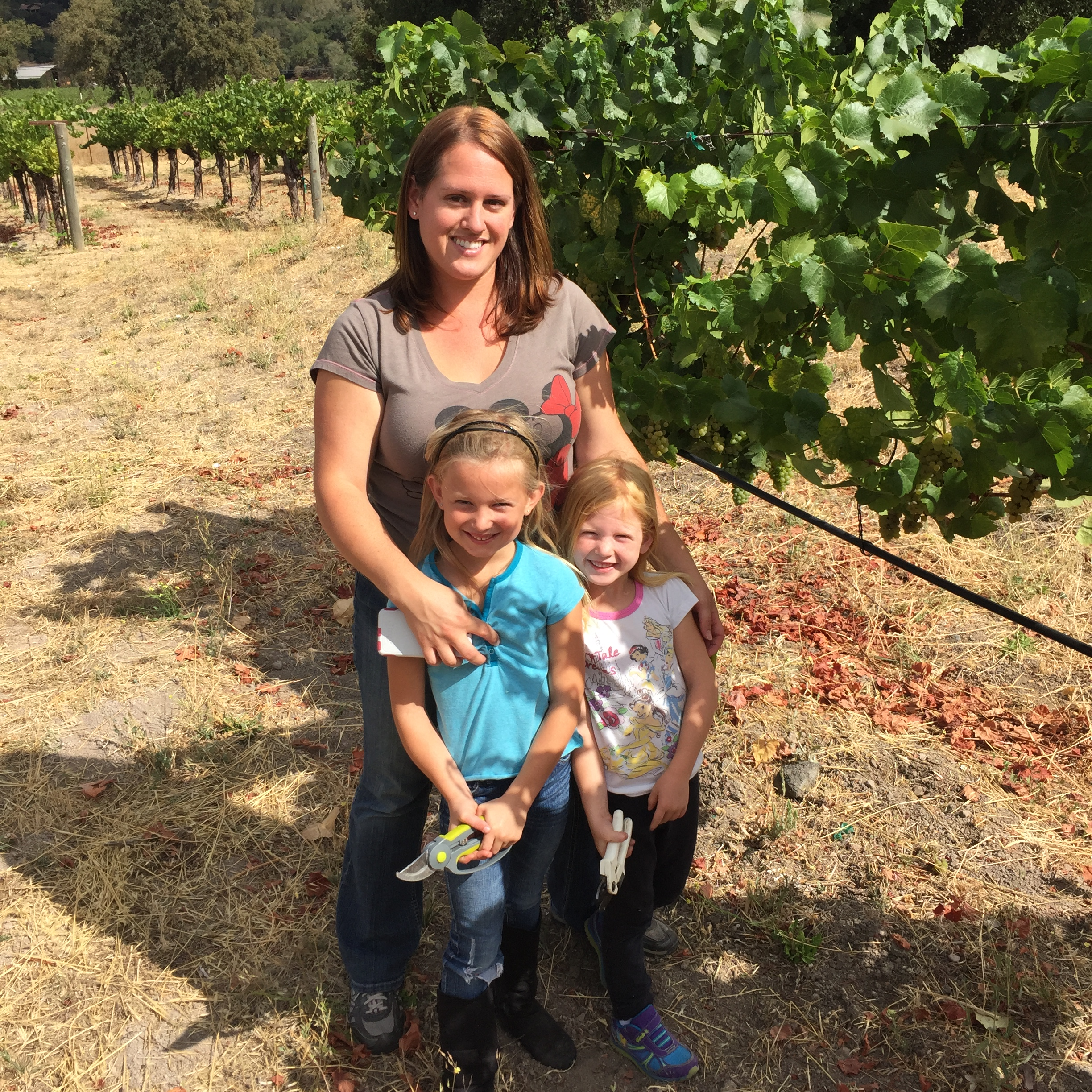 Mom and Girls in Vineyard
